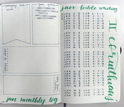 My monthly log consists of a running shopping list, monthly goals, verses to draw, and blog topic ideas. The other page is my Bible Writing Plan for the month.