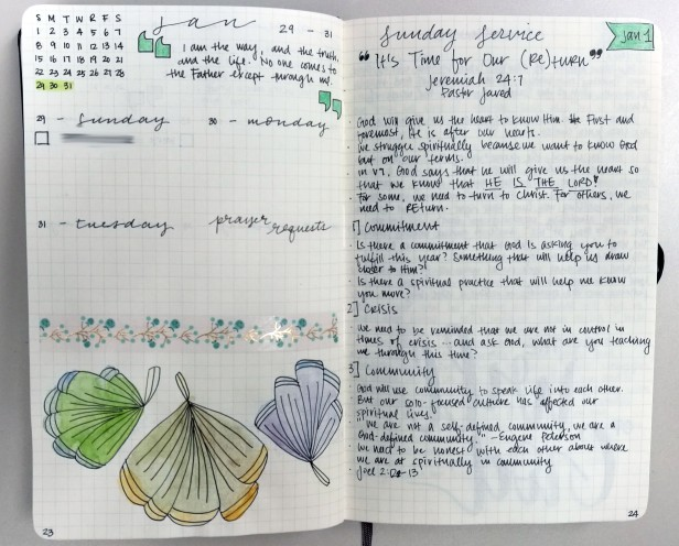 Other pages include weekly layout per page, and sermon notes.