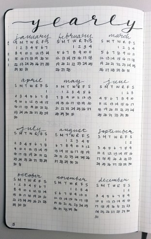 Overall yearly calendar.